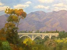 Purely Pasadena Colorado Street Bridge art oil painting California landscape from San Rafael Street. Arroyo Seco fine art