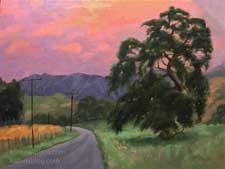 Radiant Twilight Los Olivos Oak tree sunset oil painting