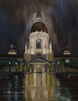 Rainfall at Pasadena City Hall 12 x 16 inches