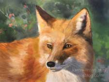 Red Fox wildlife portrait oil painting