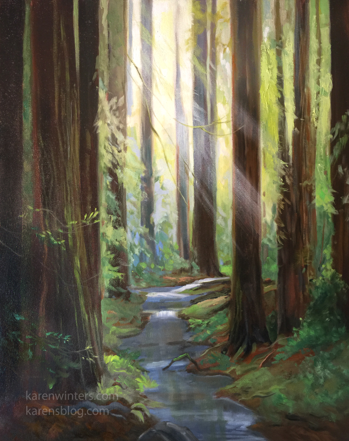 Sequoia and Redwood Tree Oil paintings by California ... Redwood Tree Painting
