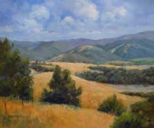 Rolling and Golden Carmel Valley Road California landscape impressionist landscape oil painting with golden hills and oak trees. Karen Winters Fine Art