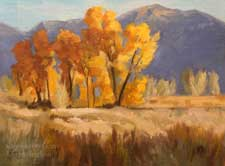 Round Valley Cottonwoods oil painting sierra california impressionist