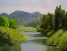 Russian River Oil Painting California impressionist river art for sale