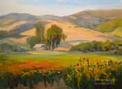 San Luis Obispo Los Osos Flower Fields Oil Painting Los Osos Valley Road California Impressionist Landscape Karen Winters