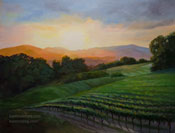 California vineyard sunset oil painting