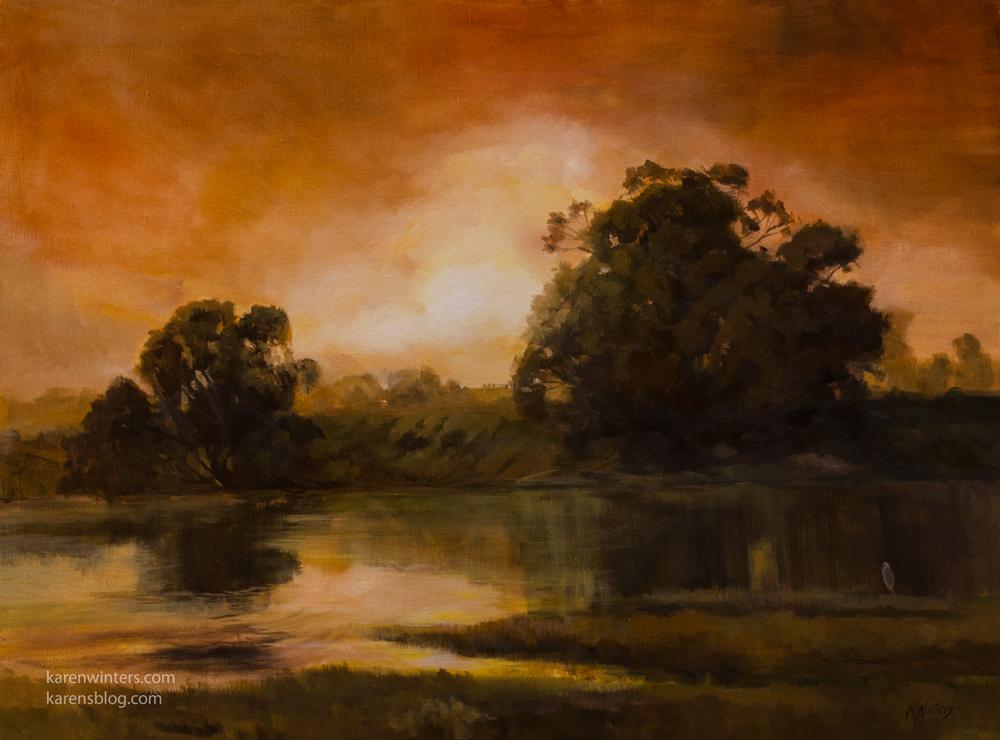 Spirit Of The Sunset Golden Reflections Marshland Devereux Slough California Landscape Oil Painting For Sale