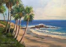 Sunny Day, Laguna Beach 12 x 16 oil painting seascape California impressionist palm trees ocean waves surf contemporary art