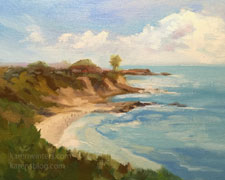 Sunny Cove, Little Corona Del Mar 8 x 10 inch Newport oil painting