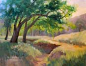 Sunrise in the Oaks - Tejon Ranch California impressionist oil painting by Karen Winters