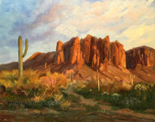 Superstitions Mountains Sunset art oil painting plein air style Arizona red rock country contemporary for sale