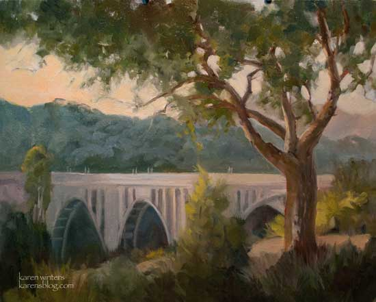 Colorado Street Bridge, Pasadena, oil painting from the viewpoint of the Robinson House