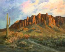 Superstition Mountains Arizona oil painting landscape sunset art