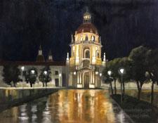 Time to Shine - Pasadena City Hall rainy night oil painting