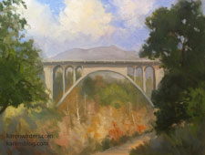 View from La Casita Arroyo Pasadena Colorado Street Bridge plein air oil painting