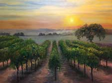 Vineyard Valley Wine Country landscape California oil painting