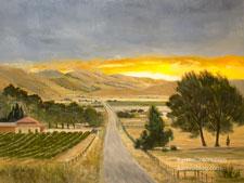 Vintage Sunrise Cummings Valley Tehachapi vineyard dawn oil painting