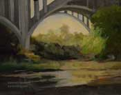 Walking neath the bridge - arroyo seco colorado street bridge painting 8 x 10 pasadena