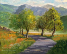 Wildflower Wednesday Yokohl Valley Road wildflower california landscape oil painting art for sale