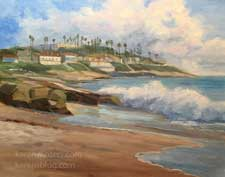 Windansea Beach La Jolla oil painting contemporary art 11 x 14 inch painting by Karen Winters