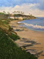 Windansea La Jolla Beach seascape Big Rock La Jolla oil painting plein air style
