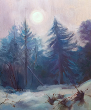 Winter Moonlight Crystal Lake Campgrounds Misty Mystic moon oil painting