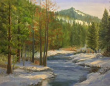 Winter on the Truckee River - oil painting artwork for sale
