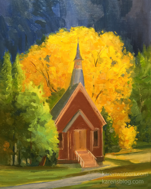 d87006bc0 Yosemite Chapel in Autumn 10 x 8 inches oil painting