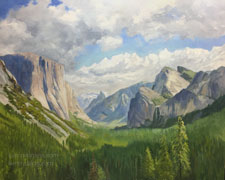 Yosemite Valley View - Wawona Tunnel view California Sierra landscape oil painting with El Capitan, Half Dome