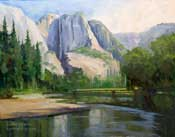 Yosemite Oil Painting - Merced River Swinging Bridge Yosemite Falls Art