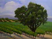 A Day in the Vineyard wine country oak vineyard California Oil Painting by impressionist Karen Winters