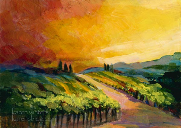 A vineyard in Tuscany – impressionist landscape painting - A Vineyard In Tuscany – Impressionist Landscape Painting |