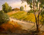 California Vineyard Plein Air Oil Painting with Eucalyptus Tree