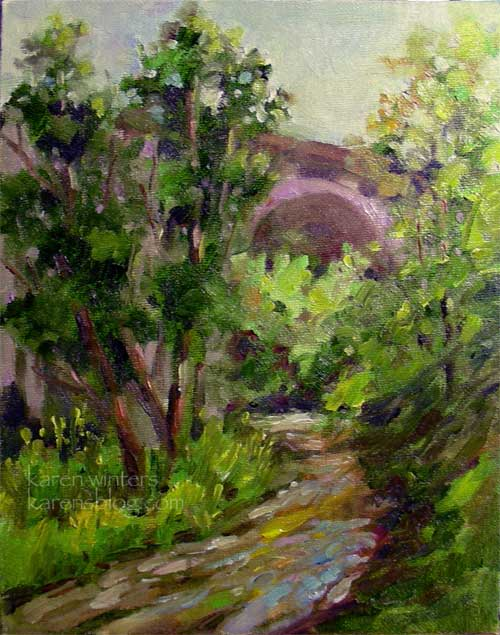Arroyo Dawn Colorado Street Bridge Painting by karen Winters