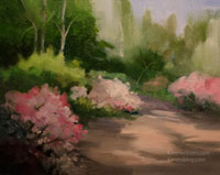 Azaleas at Descanso Gardens Oil Painting
