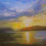 Back Bay Afternoon Sunset Newport 6 x 6 oil painting miniature by California impressionist Karen Winters