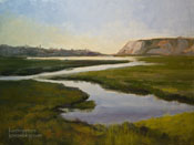 Newport Back Bay Twilight oil painting Newport Back Bay Nature Preserve Estuary