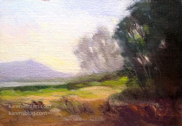 Batiquitos Mist Miniature California Landscape Oil Painting By Karen Winters
