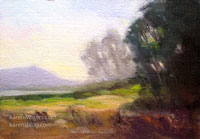 Batiquitos Mist Miniature California Landscape Oil Painting by Karen Winters