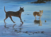 beach pals dogs on beach oil painting off leash dog beach santa barbara
