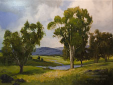 Beside Still Waters oil painting California Central Valley Sierra Foothills Eucalyptus painting art for sale
