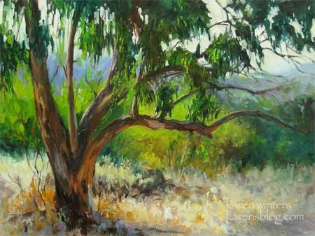 California Eucalyptus Impressionist Oil Painting By Karen