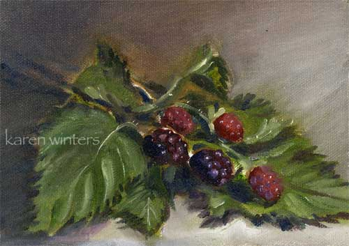 blackberries oil painting