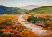 California Poppy Landscape Miniature Oil Painting 5 x 7""