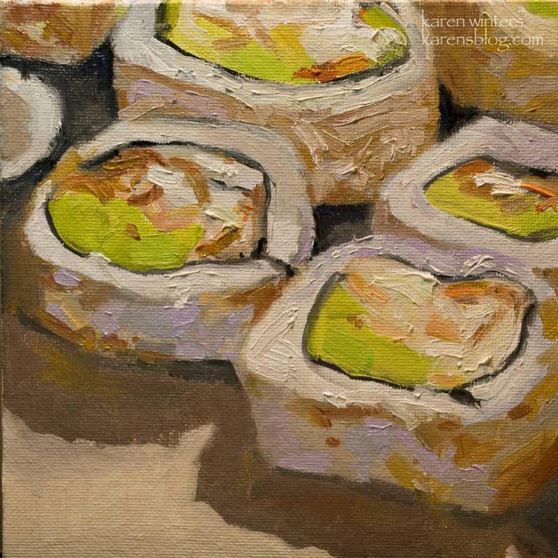 sushi california roll still life oil painting  u2013 karen