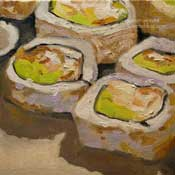 California roll sushi oil painting