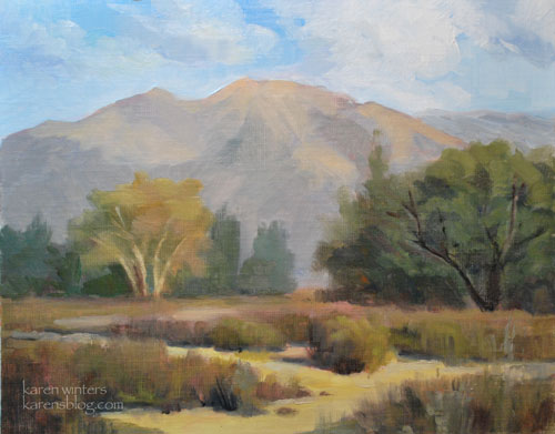 La Crescenta Park plein air oil painting of oaks, sycamores, buckwheat and the San Gabriel Mountains, by California impressionist Karen Winters