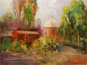 Capistrano Train Station plein air oil painting by Karen Winters
