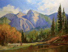 Cathedral Beach Yosemite Autumn oil painting