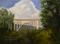 Colorado Street Bridge 6 x 8 inch oil painting with thunderhead cloud california impressionist landscape art for sale